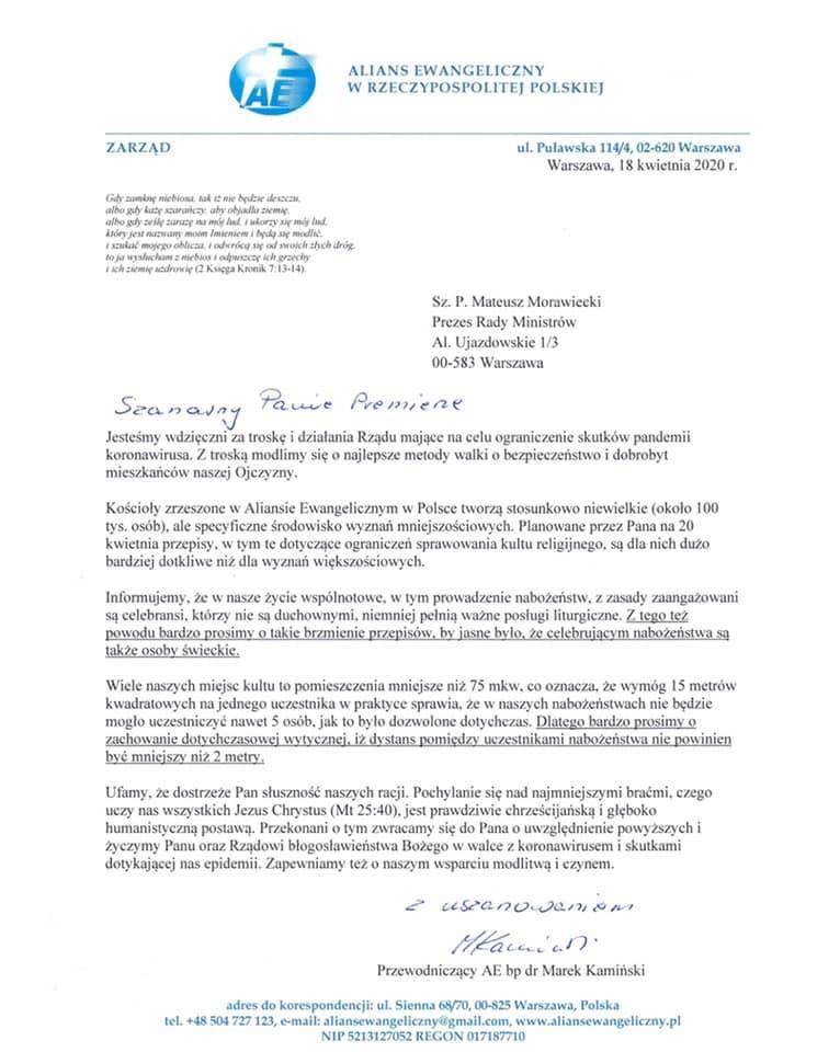 List do premiera Morawieckiego